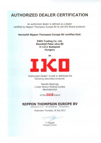 IKO distributor certificate 2